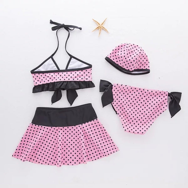 Vintage Polka Dot Bow Baby Swimsuit