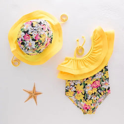 Yellow Floral Swimsuit For Baby Girls With Hat