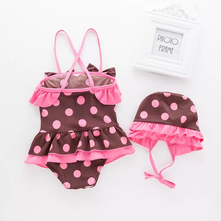 2 Piece Ruffle Dotted Swimsuit