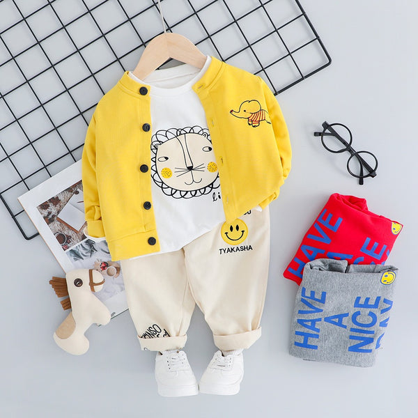Lion Printed Tshirt And Joggers With Cardigan Set