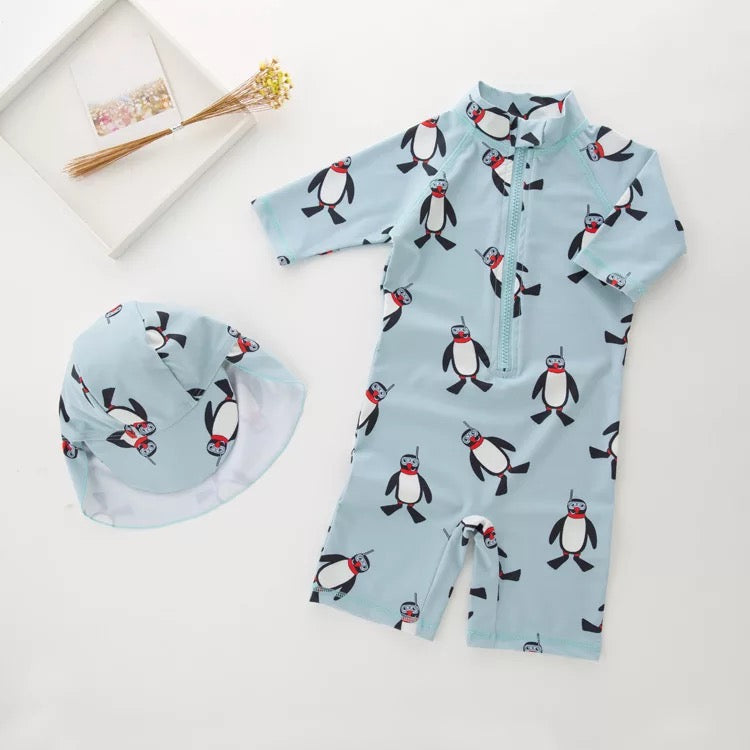 Penguin Printed Swimsuit