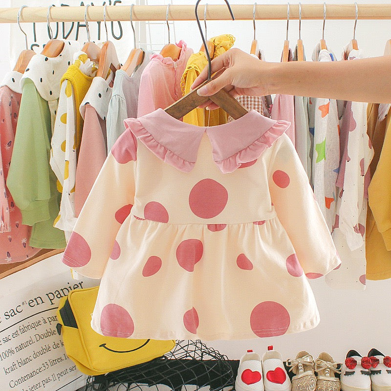 Big Polka Dotted Pineapple Collar Dress