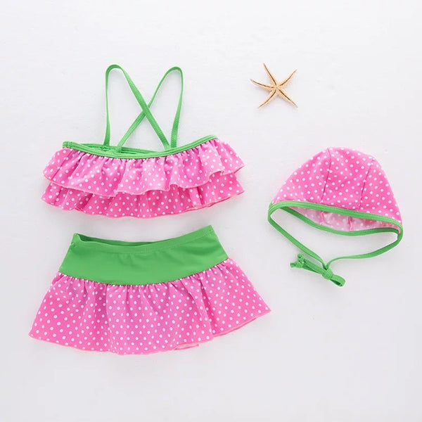 3 Piece Pink Cute Dotted Swimsuit For Baby Girls