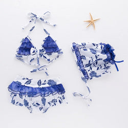 White And Blue Printed Baby Swimsuit