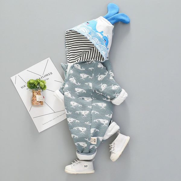 Fish Printed Hooded Winter Jumpsuit