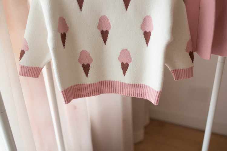 Ice-cream Top And Pleated Skirt Winter Set