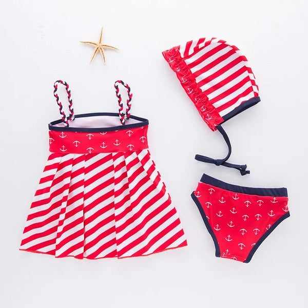 3 Piece Red Striped Baby Swimsuit