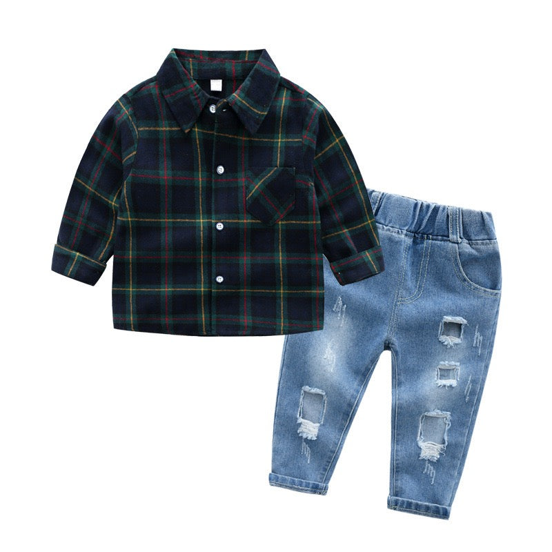 Green Checks Shirt with Denim Set