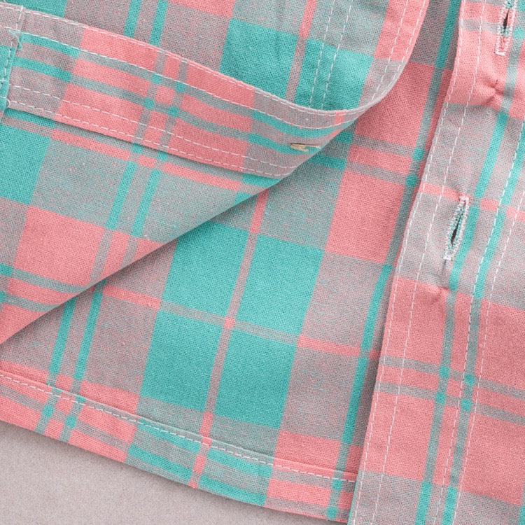 Pink-Green Checks Shirt with Denim Set