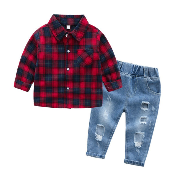 Red Checks Shirt with Light Denim Set