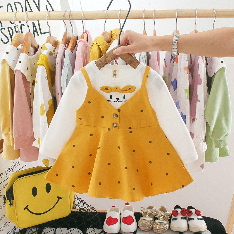 Polka Dotted Overall Style Dress