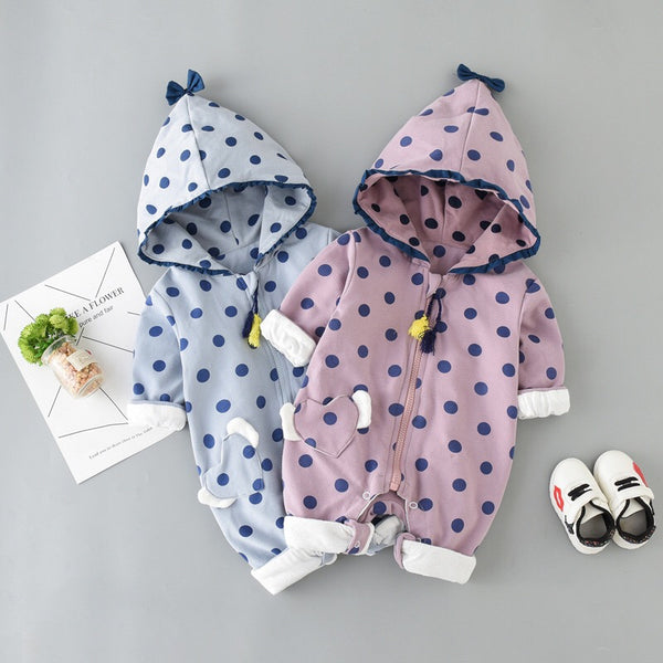 Polka Dots Hooded Winter Jumpsuit