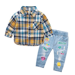 Checks Shirt with Printed Denim Set