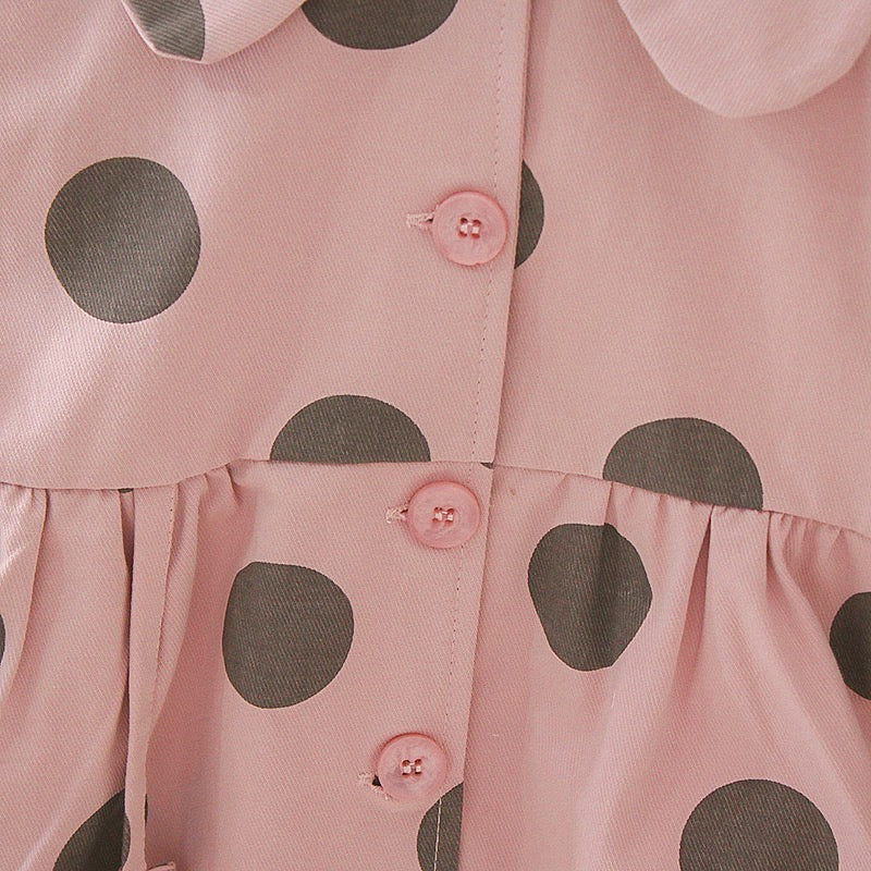 Polka Dot Printed Buttoned Dress