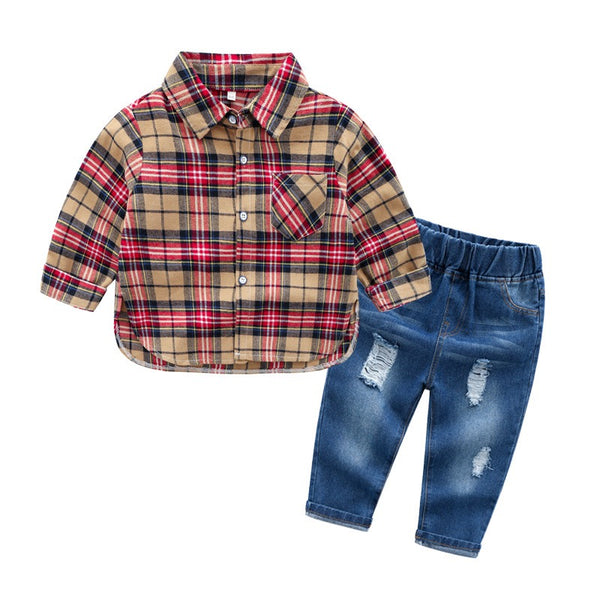 Red-Beige Checks Shirt With Denim Set