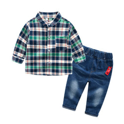 Three Colour Checks Shirt with Denim Set