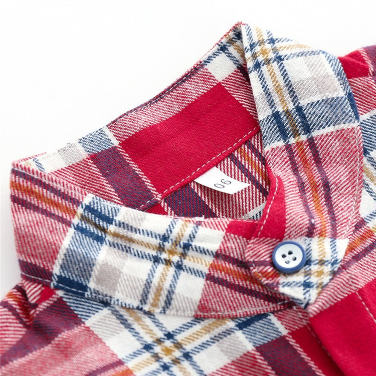 Red Checks Shirt and Denim Set