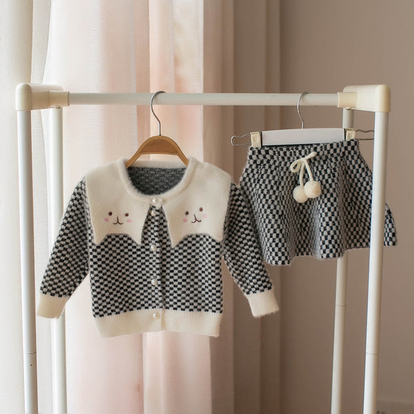 Checkered Cardigan And Skirt Winter Set