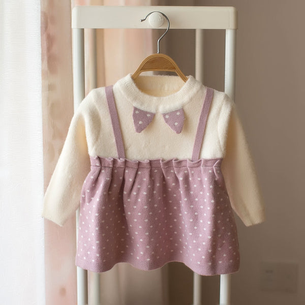Polka Dotted Suspender Style Winter Dress