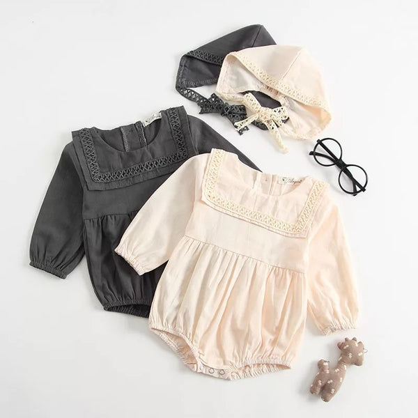 Cotton Vintage Romper With Hat
