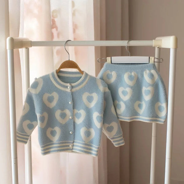 Heart Made Cardigan And Skirt Set