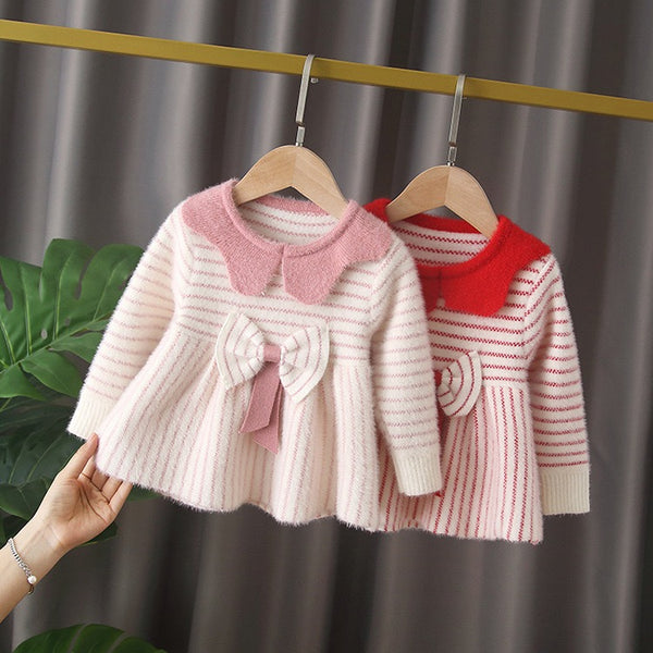 Striped Bow Winter Dress
