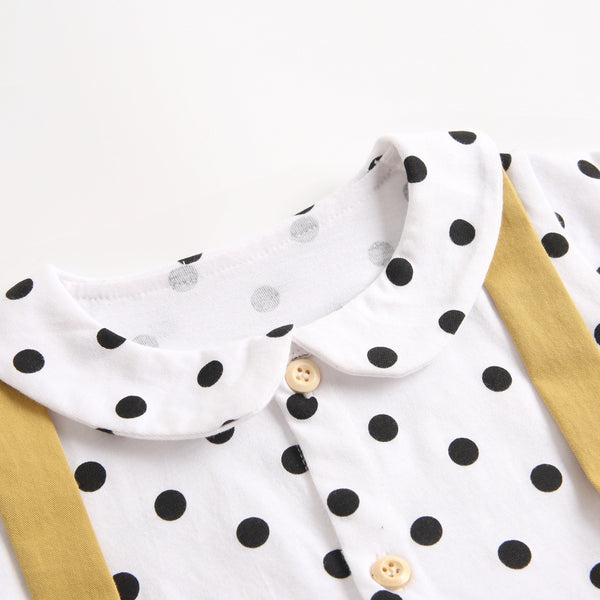 Peter Pan Collar Polka Dotted Romper