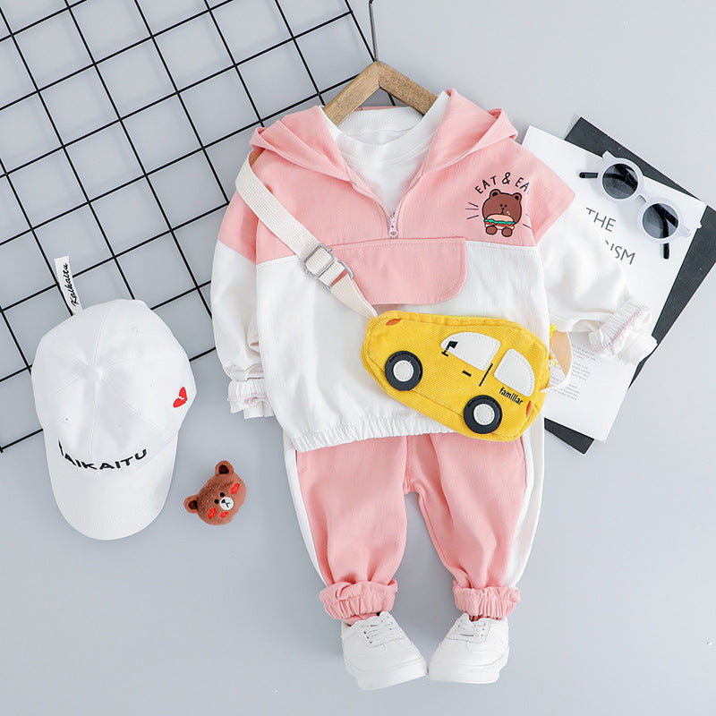 Bear Sweatshirt And Joggers With Side Stripes Set