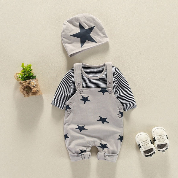 Star Printed Dungaree With Tshirt And Cap Set