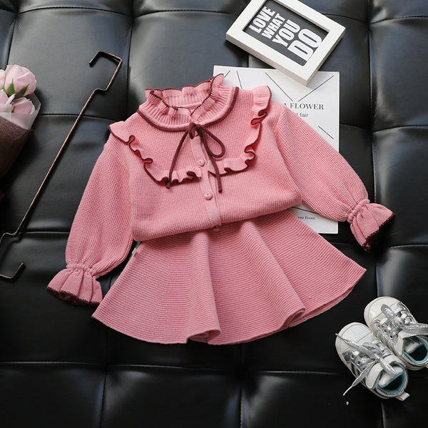 Ruffled Bow Knot Cardigan And Skirt Winter Set