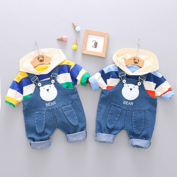 Striped Hoodie And Denim Dungaree Set