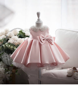 Pleated Party Dress With Beaded Neck And Bow