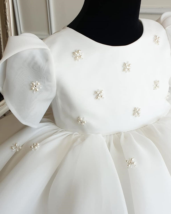 White Beaded Box Pleat Party Dress