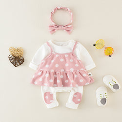 Polka Dots Rompers And Pajama With Headband Set