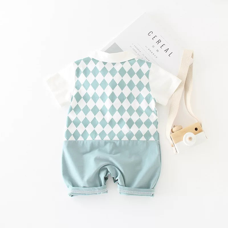 Diamond Pattern Bow Romper