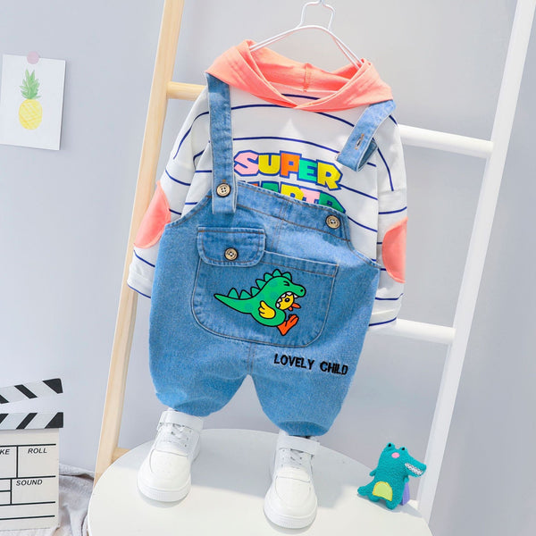 Giraffe Denim Dungaree And Hooded Tshirt Set