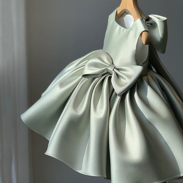 Fine Satin Bow Party Dress