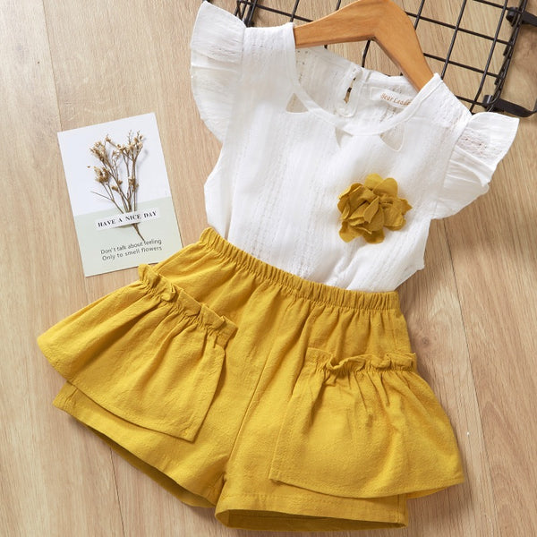 Cap Sleeves Top And Shorts Summer Set