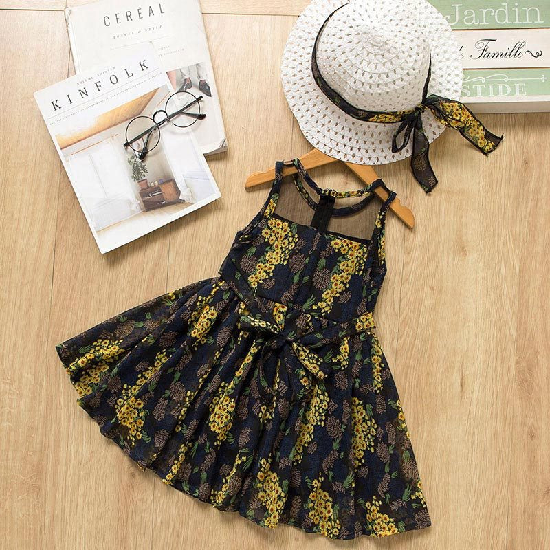 Floral Printed Sleeveless Dress With Hat