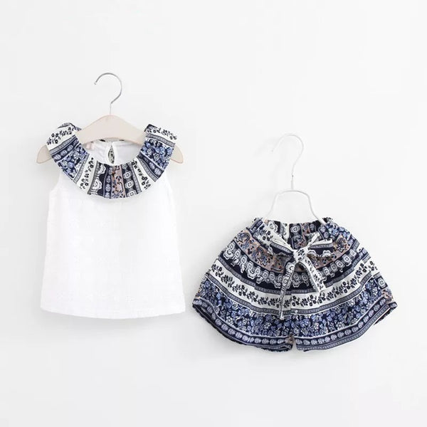 Embroidered Shirt Plus Printed Shorts Set