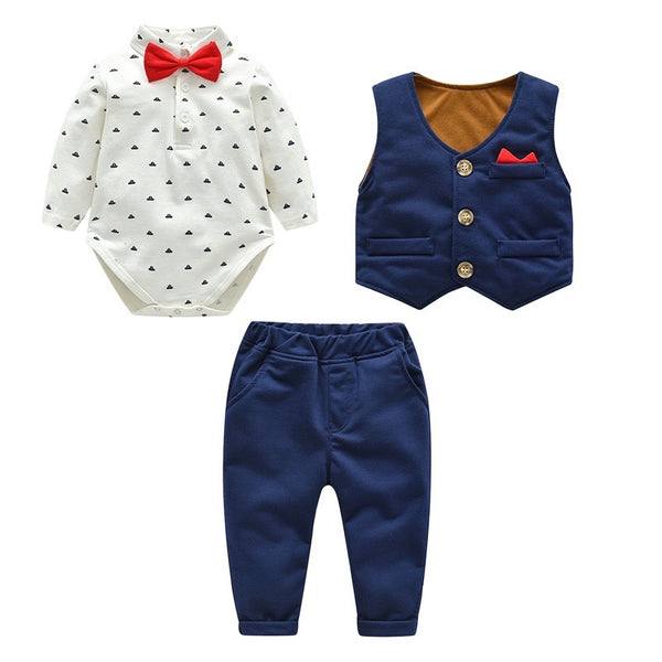Bow Romper With Waistcoat And Pant Set