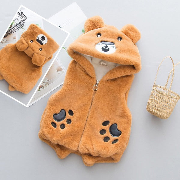 Bear Hooded Sleeveless Jacket