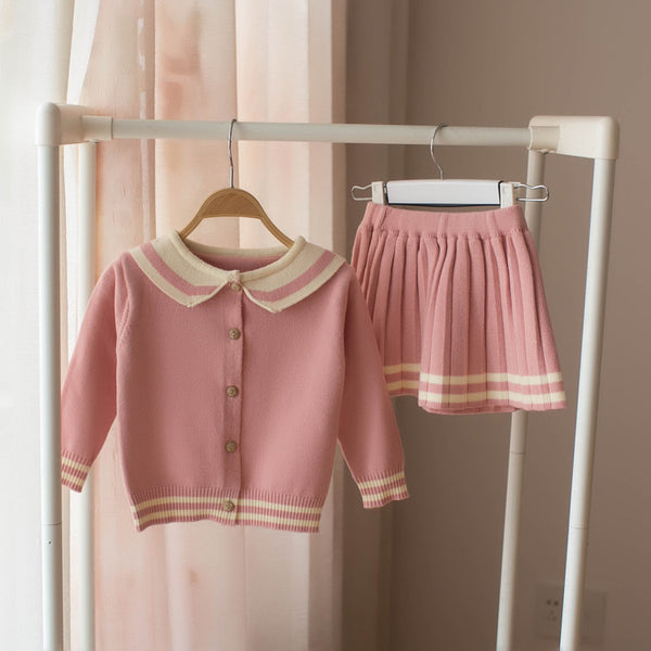 Doll Collar Cardigan And Pleated Skirt Winter Set