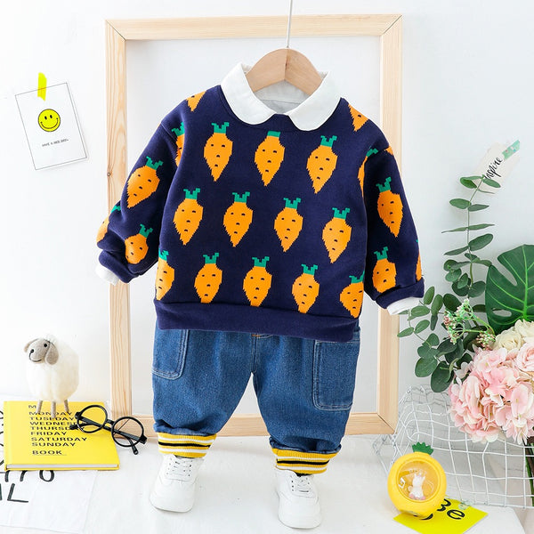 Fruit Printed Sweatshirt Winter Set