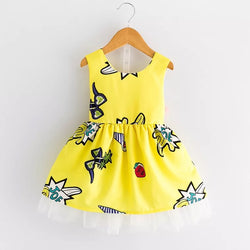 Yellow Printed Round Neck Sleeveless Summer Dress