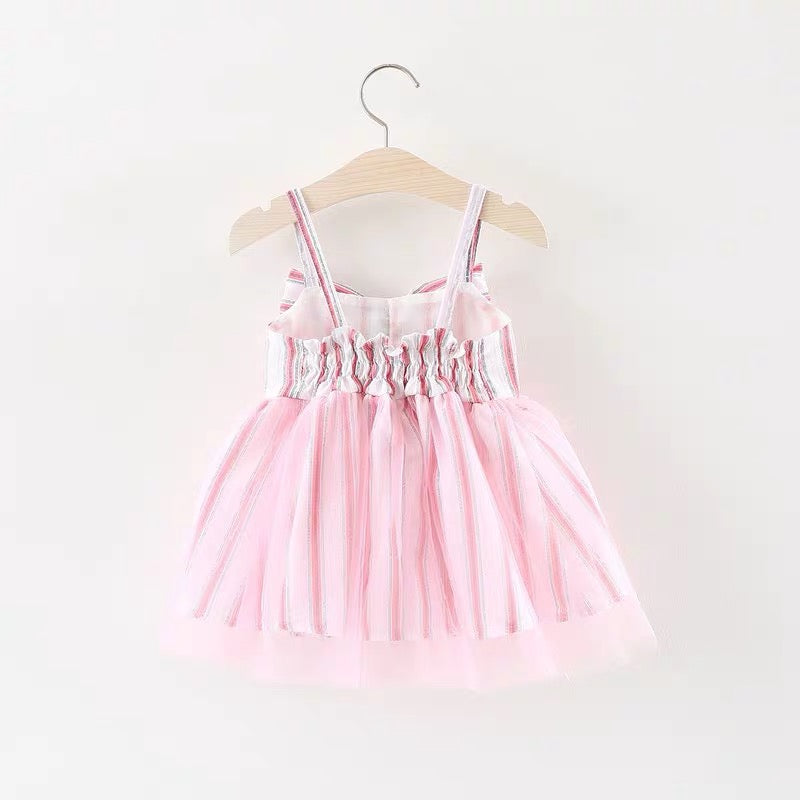 Bow Made Strap Dress For Baby Girls