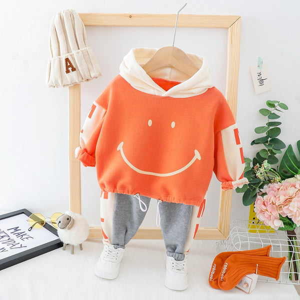 Smiley Hooded Sweatshirt Winter Set