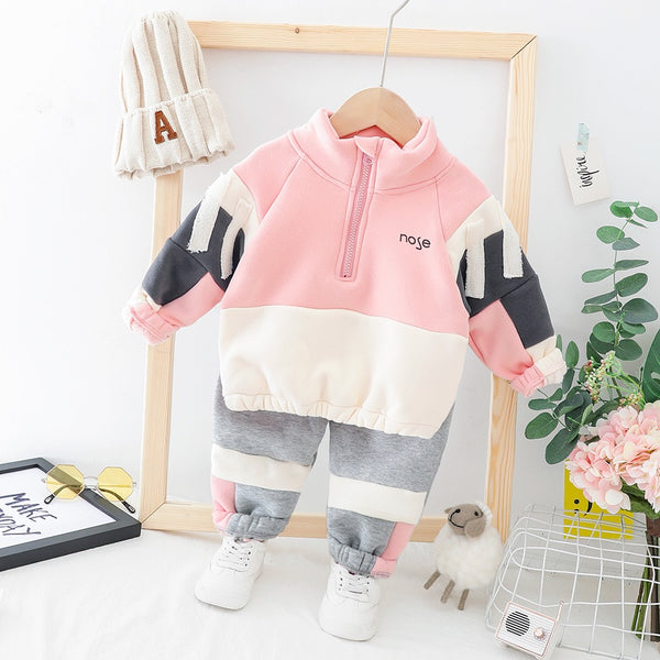 Zipper Sweatshirt Winter Set