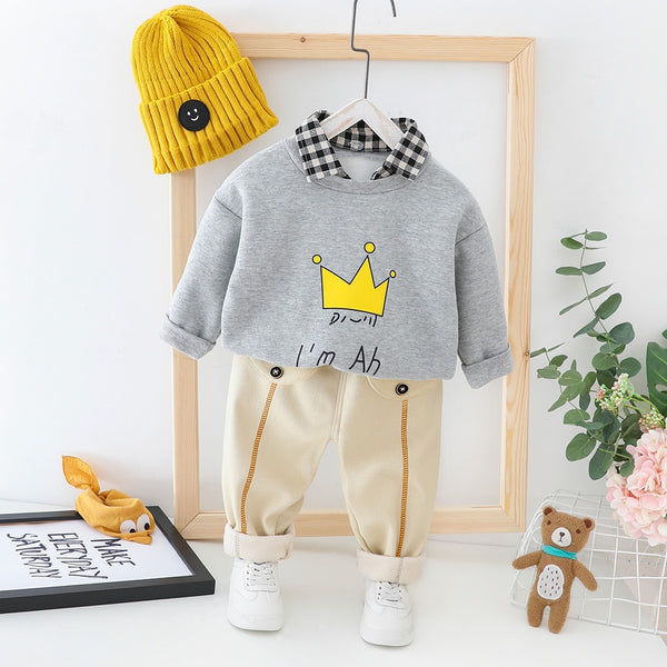 Crown Printed Checks Collar Sweatshirt Winter Set