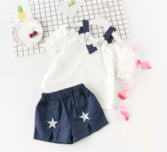 Flower Top Plus Star Shorts Set
